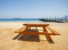 Free View From A Tropical Beach With Picnic Table Stock Image - 15036101