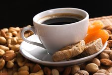 Free Coffee With Nuts, Fig And Dried Apricots Royalty Free Stock Images - 15036499