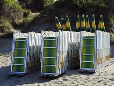 Free Deck Chairs On A Beach Royalty Free Stock Photo - 15036925