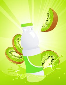 Kiwi Juice Bottle Stock Photography