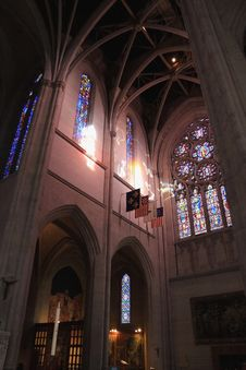 Grace Cathedral Stained Glass And Tapesties Stock Photo