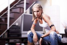 Free Beautiful Cool Young Funcky Girl Sitting Royalty Free Stock Photo - 15039865