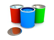 RGB Color Paint Can Over White Royalty Free Stock Photo