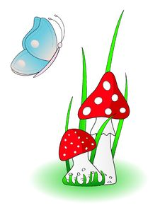 Free Red Mushroom With Blue Butterfly Royalty Free Stock Photography - 15045647