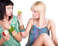 Free Two Young Pretty Women Posing With Apples Stock Photos - 15046773