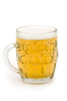 Full Glass Beer Mug Over White Stock Photos