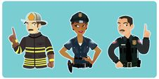 Free Two Cops & A Fireman Stock Photos - 15049533