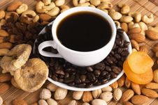 Free Coffee With Nuts, Fig And Dried Apricots Royalty Free Stock Photo - 15049915