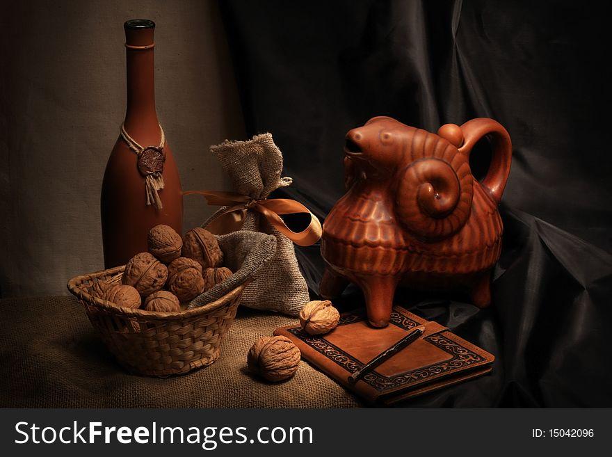 Wine and ceramic ram