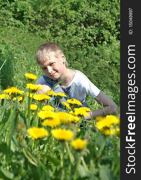 Boy and dandelions