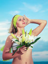 Free Woman With Flowers Royalty Free Stock Photos - 15058638