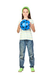 Free Adorable Little Girl With Soccer Ball Stock Photography - 15051332