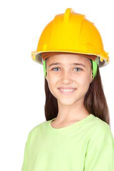 Free Adorable Little Girl With Yellow Helmet Stock Photography - 15051362