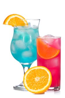 Free Blue And Red Cocktails With Fruits Stock Image - 15051521