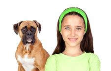 Free Beautiful Girl And Her Dog Stock Images - 15051924