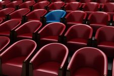 3d Chairs: Red And One Blue Stock Photos