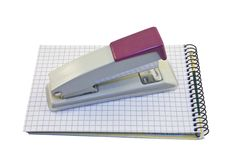 Free Stapler And Notebook Isolated On The White Stock Images - 15052734