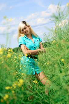 Portrait Of A Woman In The Field. Stock Image