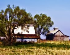 Barn And Corn Crib From Across A Pasture Royalty Free Stock Photo
