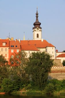 The Colorful Medieval Town Pisek Stock Photo