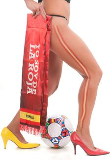 Free Spanish Woman Legs To The World Cup Football Final Stock Photography - 15054452