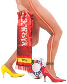 Free Spanish Woman Legs Sudafric World Cup Football Stock Images - 15054474