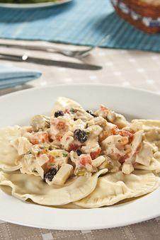 Free Chicken Ravioli With Sauce Of Palmetto. Stock Photo - 15054630