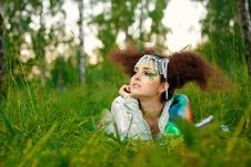 Girl In A Forest Stock Photography