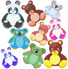 Multi-coloured Toys-bears Stock Photo