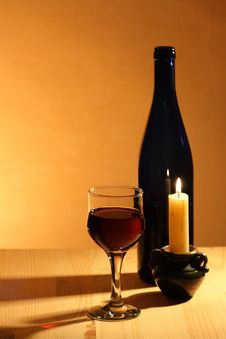 Free Red Wine  And Candle Royalty Free Stock Photos - 15056718