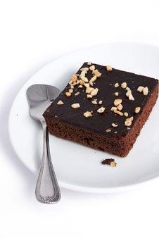 Brownie Square On Plate Dish Royalty Free Stock Photos