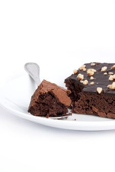 Brownie Square On Plate Dish Royalty Free Stock Images