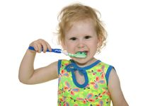 Free Child Clean Teeth By Brush Royalty Free Stock Photo - 15057065