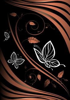 Free Floral Card With Butterflies Royalty Free Stock Images - 15057089
