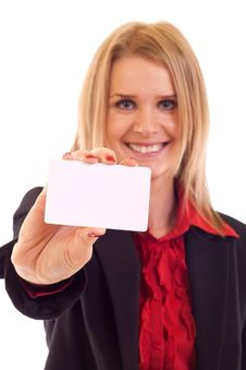 Free Woman With Business Card Royalty Free Stock Images - 15057269