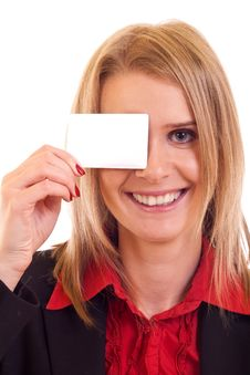 Woman Holding Blank Card Stock Photo