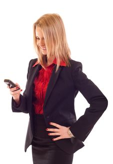 Woman Sending A Text Message Royalty Free Stock Photo