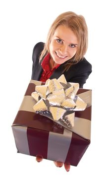 Free Woman With Gift Box Royalty Free Stock Photo - 15057295