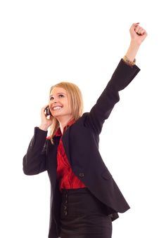 Free Woman On The Phone Winning Stock Photos - 15057303
