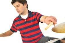 Drummer Playing Royalty Free Stock Photography