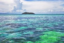 Seascape. Turquoise Water, Island Royalty Free Stock Photo