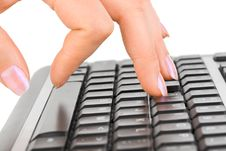 Free Computer Keyboard And Hand Royalty Free Stock Photos - 15059008