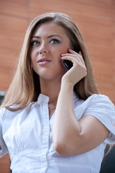 Free Young Woman With Phone In Hands Stock Images - 15059054
