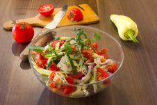 Salad In Glass Dish In The Kitchen Royalty Free Stock Photography