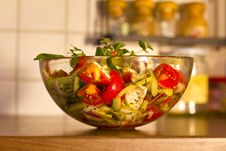 Salad In Glass Dish In The Kitchen Stock Images