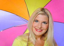 Free Pretty Autumn Woman Standing Under Umbrella Stock Photo - 15059900