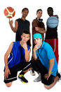 Free Interracial Basketball Team Royalty Free Stock Photos - 15061988