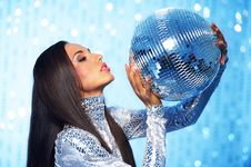 Free Brunette Woman With A Disco Ball Stock Photography - 15060392