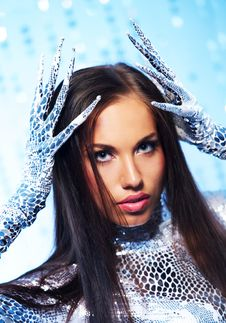 Free Brunette With Long Nail Gloves Stock Photos - 15060413