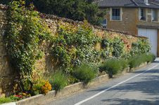 Street Stone Fence Decorated With Flowers Stock Photo